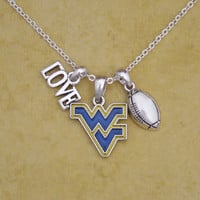 West Virginia Mountaineers Football & Logo Charm Necklace