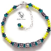 Oregon Ducks, Oregon Ducks Jewelry, Oregon Ducks Bracelet, Ducks, Team Spirit, Football Jewelry, College Football, Sports Team Jewelry