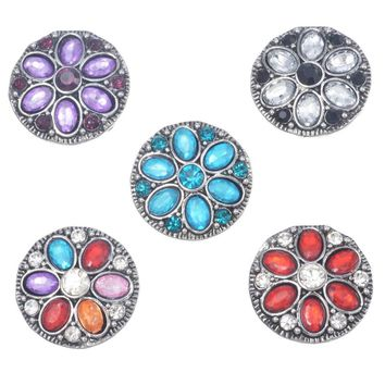 5PCs Antique Silver Round Rhinestone Click Snap Buttons