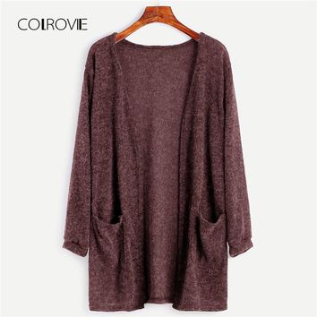 COLROVIE Black Solid Fuzzy Cardigan Girls Sweater Women 2018 Autumn Long Sweater Female Long Sleeve With Pockets Women Clothing