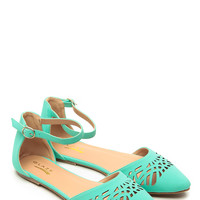 Glaze Mint Faux Leather Pointy Laser Cut Flats