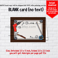 Instant Download, blank Card, #1018 tool, boy dig Party , food tent Card, place card, 3.5x2.5inch printable , non-editable NOT CUSTOMIZABLE