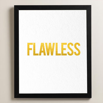 Flawless - Beyonce - Real Gold Foil Artwork - Dorm Decor - Home Decor
