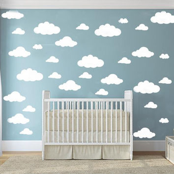 31pcs set DIY Big Clouds 4-10 inch Wall Sticker Removable Wall Decals Vinyl Kids Room Decor Art Home Decoration Mural KW-132