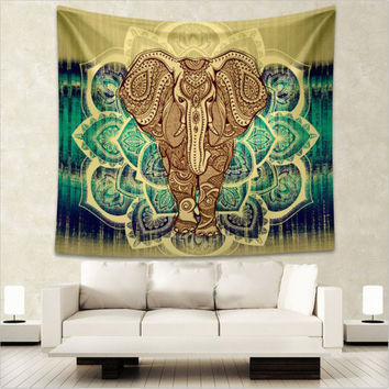 Indian Elephant Mandala Tapestry Throw Hippie Tapestry Hanging Printed Decorative Beach towel Wall Tapestries 203X153Cm