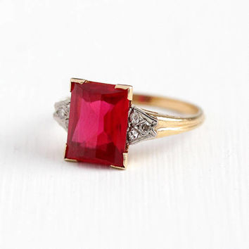 Vintage Gold Ring - Vintage 10k Rosy Yellow & White Gold Created Ruby Genuine Diamond Fine Jewelry - Retro Size 5 3/4 Red July Birthstone