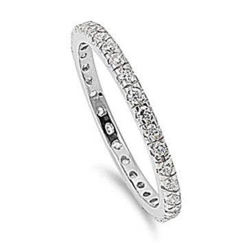 925 Sterling Silver CZ Stackable Eternity Pink Ring 2MM