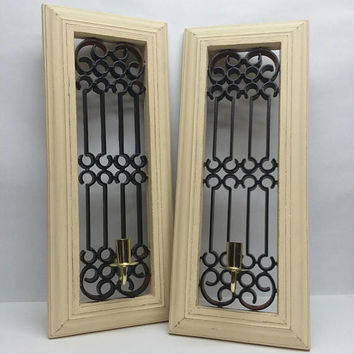 Two Vintage Plastic Candle Wall Sconces Painted Taffy Cream and Distressed