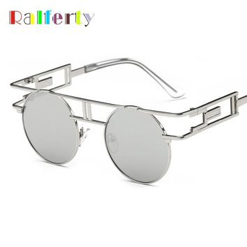 Ralferty Gothic Round Sunglasses Women Men Vintage Steampunk Goggles Retro Coating Sun Glasses Reflective gafas de sol mujer