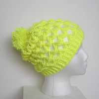 Neon Yellow Slouchy Crochet Beanie Hat, Lacy stitch, Highlighter Yellow, $38.00. #fashionaccessories #handmadegifts #neonyellow