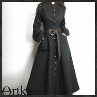 Bookable,Artka Original Slim Long wool coat Retro Royal Noble * A02951