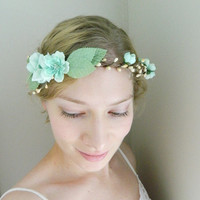 ON SALE Hint of Mint Tiara - Woodland Bridal Flower Hair Accessory - Mint Blue - Bride - Weddings