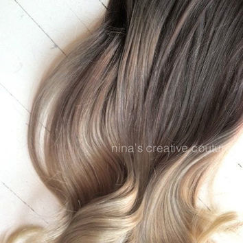 """Ash Blonde Ombre Hair,  Ombre Clip In Hair Extensions, Dark Ash Blonde Hair, Light Ash Blonde Ombre, (7) Pieces, 22"""""""