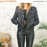 DECEMBER SALE Vintage 1980's Black Leather Motorcycle Biker Jacket || Lace Up Sides ||  Size Small Us 4 to 6