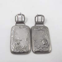Sterling Silver Luggage Tag Earrings, Repousse Dangle Drop Studs
