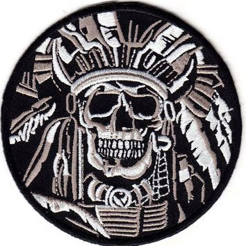 1Pcs Indian Warrior Chief Death Skull Patch For Clothes Iron On Embroidered Fabric Cartoon Logo Applique DIY Apparel Accessory