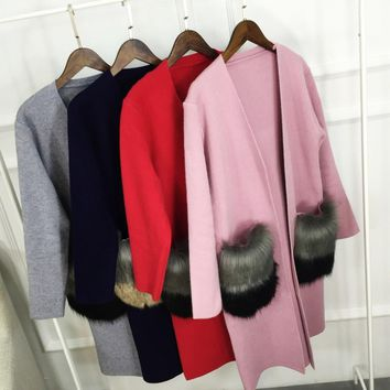 Hot 2016 Autumn Female New Cashmere Cardigan V-Neck Knit Shirt Slim Korean Version Of The Big Yards coat fox fur Long Sweater