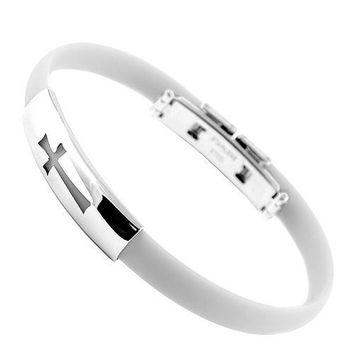 White Rubber And Stainless Steel Bracelet With Cross Cut Out Design