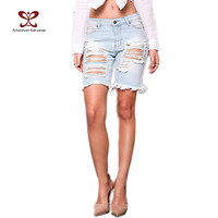 2017 Summer New Womens Denim Street Shorts Beggar Hole Ripped Jeans Shorts Ladies Short Jeans For Women Denim Shorts NC-1058