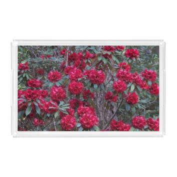 Red Rhododendrons Floral Serving Tray