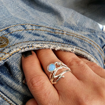 Sterling opal stack ring ,  branch silver ring , silver twig ring , Stone ring , Opal silver ring , unique silver ring , israeli jewelry