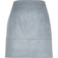 Blue faux-suede A-line skirt - mini skirts - skirts - women
