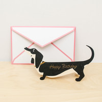 Die Cut Dachshund Greeting Card