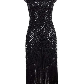 Long Prom Dresses Beaded Sequin Art Nouveau Deco Flapper Dress