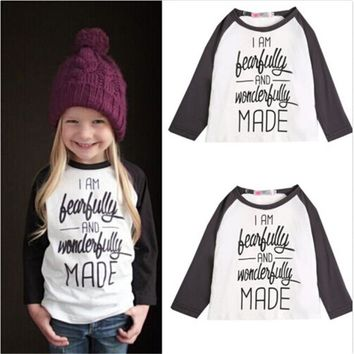 Fearfully & Wonderfully Made Kids Baseball Style T-Shirt