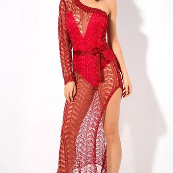 Final Countdown Red Sheer Crochet Lace Long Sleeve One Shoulder High Slit Bodycon Midi Dress