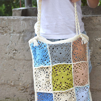 Patchwork crochet tote-Boho summer market bag-recycled handbag-Hippie Purse-shopping bag-patch bags and purses-hobo shoulder bag-Pouch