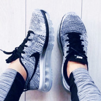 """NIKE"" New Trend of Men and Women Running Shoes Sneakers Knitting Grey"