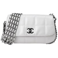 Chanel White Lambskin Silver Hardware Single Flap Bag, 2003