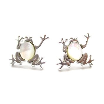 Frog Toad Shaped Animal Themed Stud Earrings in Silver with Pearl Detail | DOTOLY