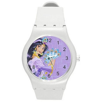 Jasmine From Disneys Aladdin on a Girls White Plastic Watch