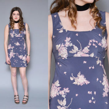 Floral Printed Mini Dress 90s Grunge Dress Purple Mauve Ditsy Empire Waist Babydoll Lolita Sleeveless Sun Dress