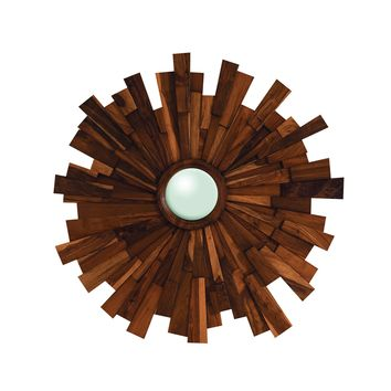 Teak Wood Starburst Mirror