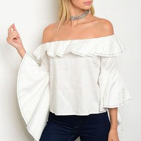 S10-8-1-TLT3544 WHITE OFF SHOULDER TOP 3-2-1