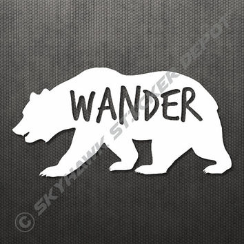 "Wander Grizzly Bear Sticker Decal MacBook Pro Air 13"" 15"" 17"" Keyboard Keypad Mousepad Trackpad Laptop Vintage Inspirational Text Hiking"