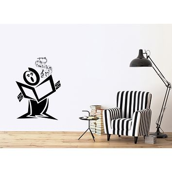 Wall Vinyl Decal Music Theme Singer Sings a Song Art Studio Decor Unique Gift (n1196)
