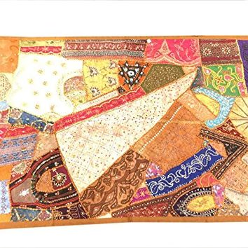 Brown Decorative Tapestry Old Sari Patchwork Wall Hanging