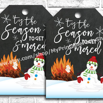 Tis The Season To Get S'mored Party Favor Tags, Funny Christmas Party Thank You Gift Tags, Bonfire Smores Party Favor Tags, INSTANT DOWNLOAD