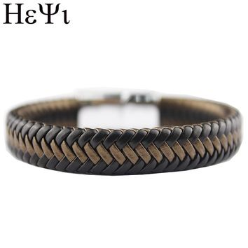 2018 Fashion Latest Simple Style Men's Woven Leather Magnetic Buckle Men's Bracelet Jewelry