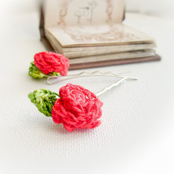 Roses Crochet flowers hairpin Shabby chic fashion by Mashacrochet