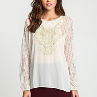 Gilded Lace Woven Blouse