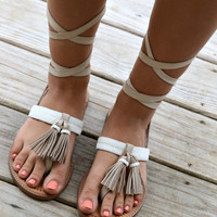CHINESE LAUNDRY Giordana Leather Tassel Gladiator Wrap Sandals