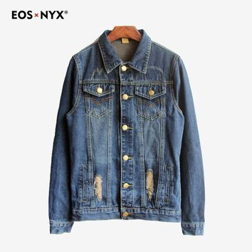 Eosnyx Kanye West Jeans Denim Jacket Men Clothes 2018 Justin Bieber Summer Jacket Coat Chaqueta Hombre Jaqueta Jeans