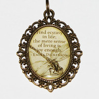 Emily Dickinson Dragonfly Pendant Necklace