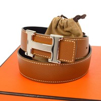 Authentic HERMES Vintage H Logos Buckle Constance Reversible Belt France JT05342
