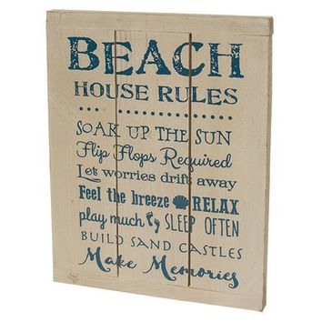 Beach House Rules Wood Sign